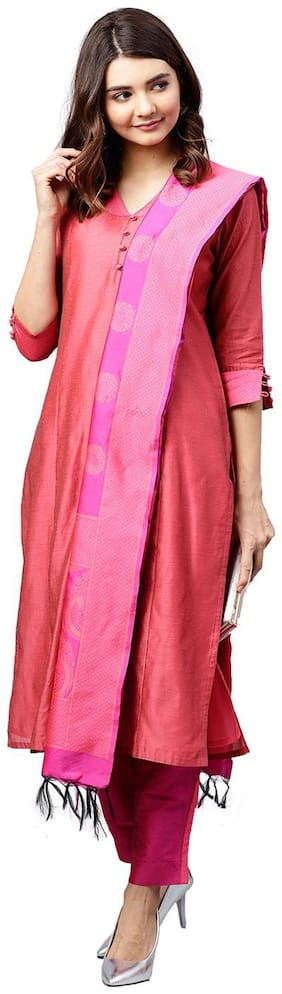 Jaipur Kurti Women Pink & Rani Solid Straight Chanderi Kurta with Pant Dupatta