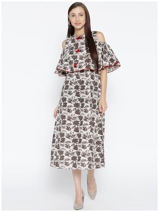 Jaipur Kurti Women Cotton Floral Straight Kurti dress - Brown