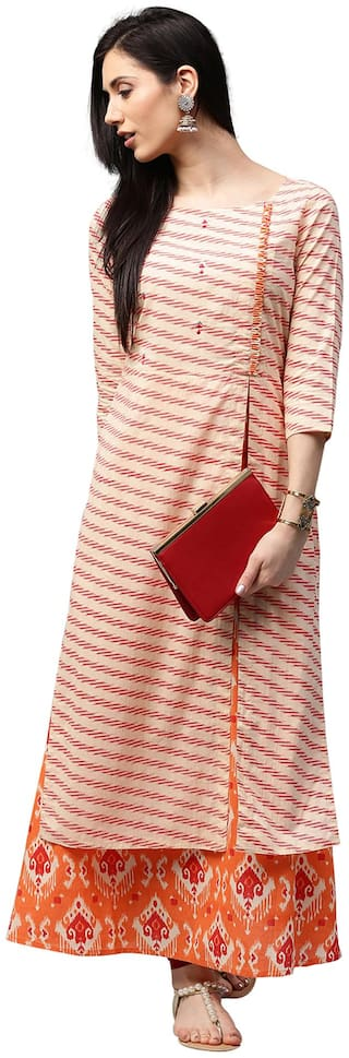 Jaipur Kurti Women Off-White & Pastel Orange Cotton Kurta