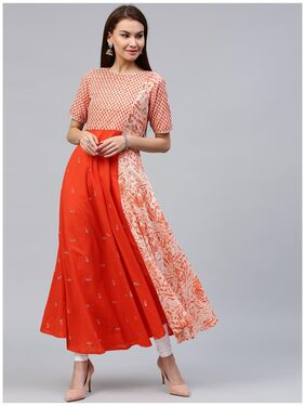 Jaipur Kurti Women's Orange Cotton Flared Long Kurta With Embroidery
