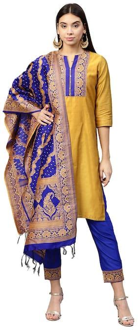 Jaipur Kurti Women Yellow & Royal Blue Solid Straight Chanderi Kurta with Pant & Dupatta