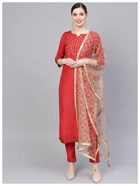 Jaipur Kurti Women Viscose Straight Suit Set -Red