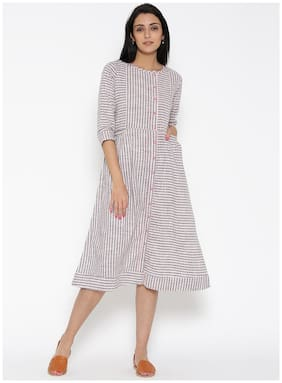 Women Striped Straight Kurti Dress
