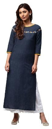 Jaipur Kurti Women Cotton Solid Straight Kurta - Blue
