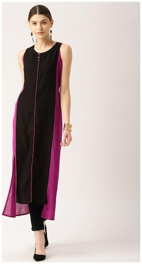 Jaipur Kurti Women Black & Pink A-Line Kurta
