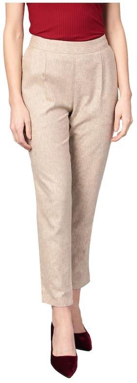 Jaipur Kurti Women Regular Fit Mid Rise Solid Pants - Beige
