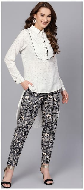 Jaipur Kurti Women White & Grey Geometric Straight Rayon Dobby Top with Pant