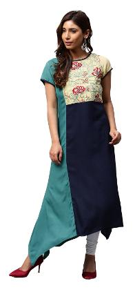 Jaipur Kurti Women Blue Colour Blocked Embroidered A-Line Rayon Kurta
