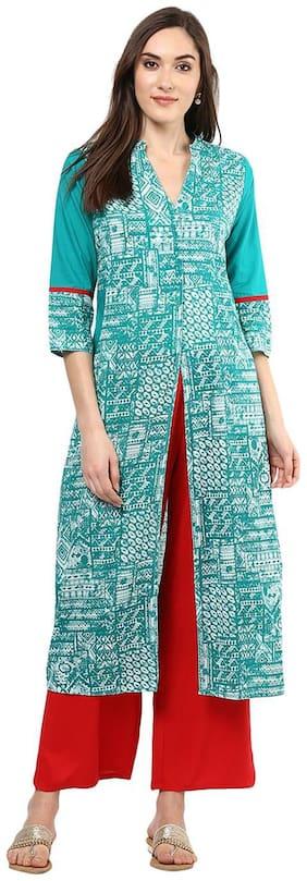 Jaipur Kurti Women Green Printed Straight Kurta With Palazzo