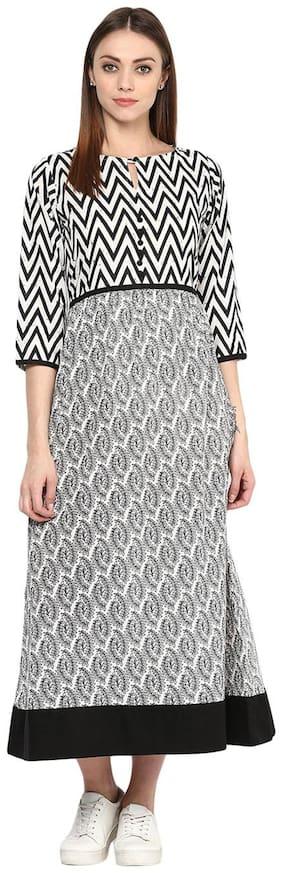 Jaipur Kurti Women's Leaf Print And Zick Zack Print Black & White Colour Dress