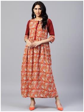 Jaipur Kurti Women Orange Ethnic Motifs A-Line Rayon Kurta