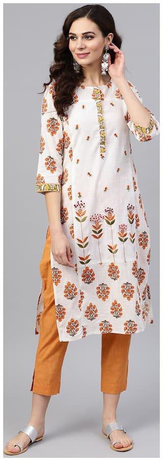 Jaipur Kurti Women White Floral Straight Kurta