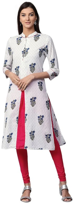 Jaipur Kurti Women White & Navy Blue Printed Straight Cotton Kurta
