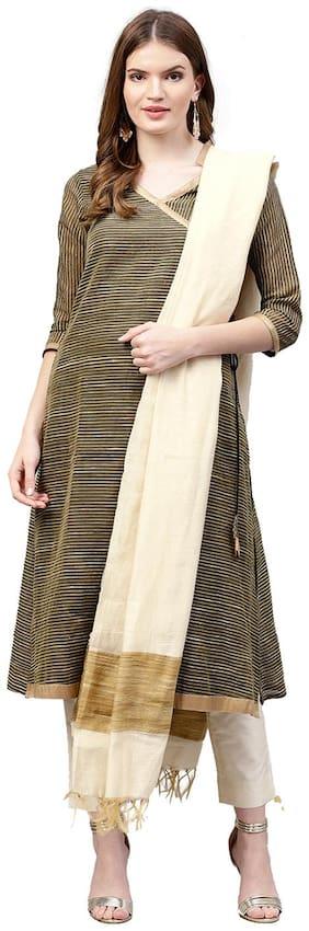 Jaipur Kurti Women Black & Off White Stripes A-Line Silk Kurta with Pant & Dupatta