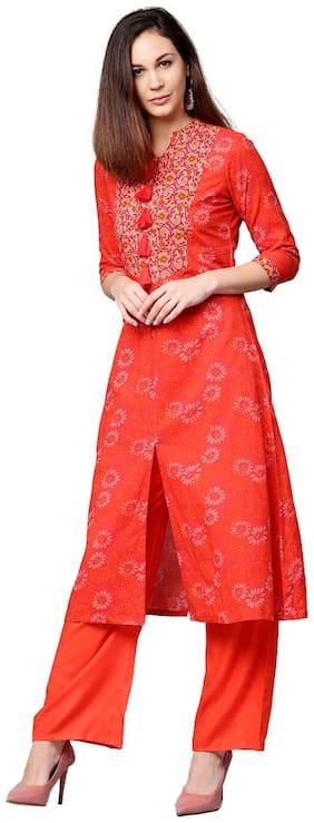 Jaipur Kurti Women Red Floral A-Line Cotton Kurta With Orange Palazzo