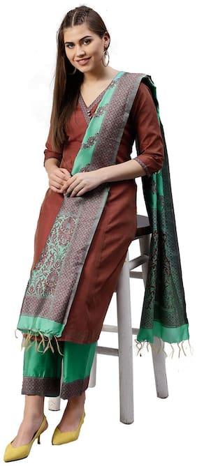 Jaipur Kurti Women Maroon & Sea Green Solid Straight Chanderi Kurta with Palazzo & Dupatta