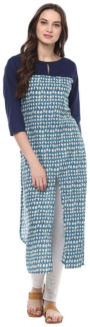 Jaipur Kurti Women Blue Printed Straight Kurti