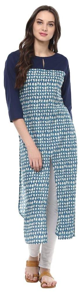 Jaipur Kurti Navy Blue Colour Printed Women's Cotton Kurti
