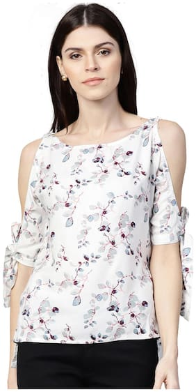 Women Floral Boat Neck Top