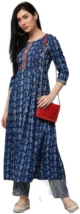 Jaipur Kurti Women Blue Floral Print Rayon Kurta With Blue Palazzo