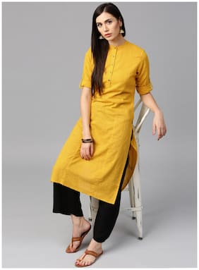 Jaipur Kurti Cotton Yellow Kurta With Black Palazzo Set