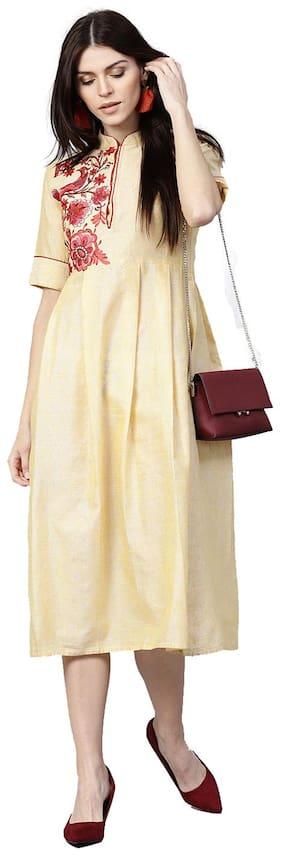 Jaipur Kurti Women Yellow Solid A-Line Rayon Slub Kurti Dress