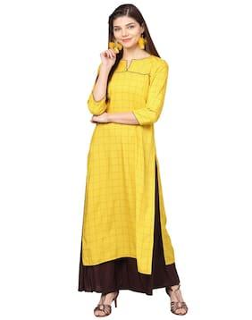 Jaipur Kurti Women Rayon Printed Straight Kurta - Yellow