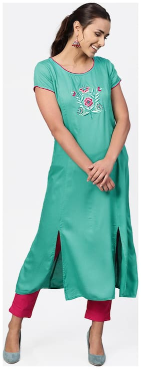 Jaipur Kurti Rayon Half Sleeves Stitched Suits Green;Pink