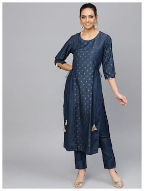 Jaipur Kurti  Women Satin Printed Kurta With Pants - Blue