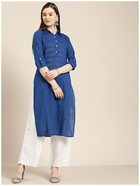 Jaipur Kurti Women Blue Solid Straight Kurta With Palazzo