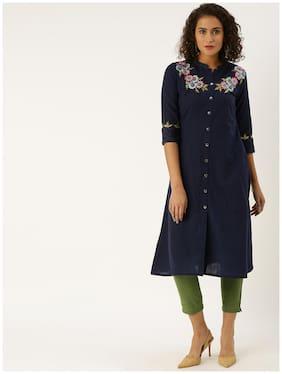 Jaipur Kurti Cotton Blend Navy Blue Embroidered Kurti Pants  For Women