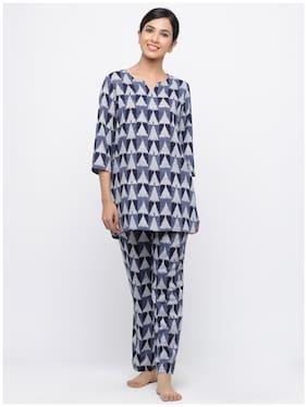 Geometric Top and Pyjama Set ,Pack Of 2