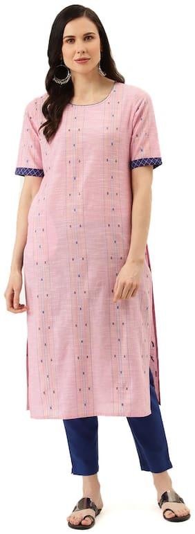 Jaipur Kurti Women Pink Printed Straight Kurta With Trousers