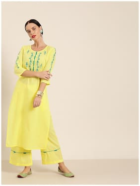 Jaipur Kurti Cotton Embroidered  Yellow Kurta & Palazzo Without Dupatta