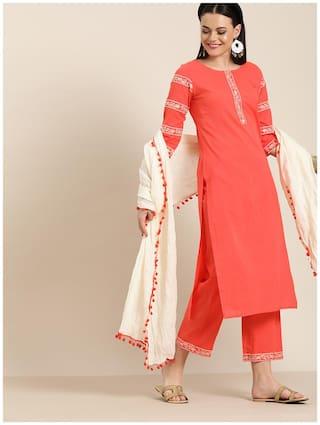 Jaipur Kurti Cotton Embroidered  Peach Kurta & Palazzo With Dupatta