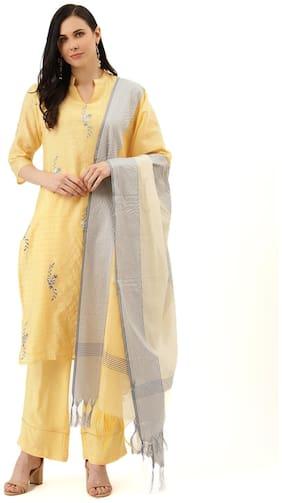 Jaipur Kurti Women Yellow Printed Straight Kurta With Palazzo And Dupatta
