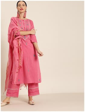 Jaipur Kurti Cotton Blend Embroidery 3/4th Sleeves Straight Pink Kurta With Palazzo & Dupatta