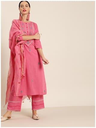 Jaipur Kurti Cotton Blend Embroidery 3/4th Sleeves Straight Pink Kurta With Palazzo & Dupatta