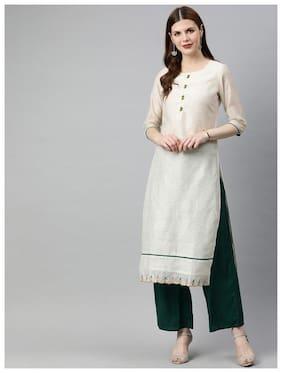 Jaipur Kurti Women Off White & Green Solid Straight Kurta With Palazzo
