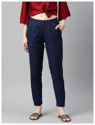 Jaipur Kurti Women Navy Regular fit Regular trousers