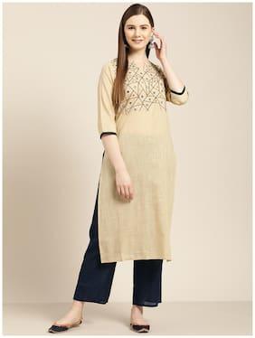Jaipur Kurti Cotton Blend Embroidery 3/4th Sleeves Straight Beige Kurta With Palazzo