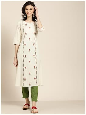 Jaipur Kurti Pure Cotton Embroidery 3/4th Sleeves A-Line Off White Kurta With Pant