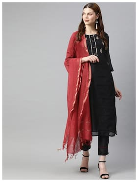 Jaipur Kurti Women Embroidery Black Kurta  With Trousers With Dupatta