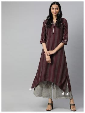 Women Striped A Line Kurti
