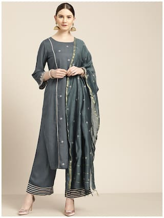 Jaipur Kurti Viscose Rayon Embroidered  Grey Kurta & Palazzo With Dupatta