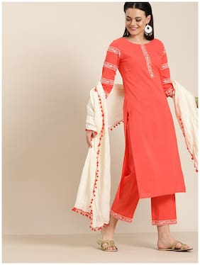 Jaipur Kurti Cotton Embroidered  Peach Kurta & Palazzo With Dupatta