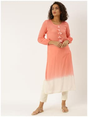 Jaipur Kurti Women Peach Solid Straight Kurti With Pants