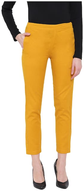 JAIPUR STREET Women Regular fit Solid Regular pants - Yellow