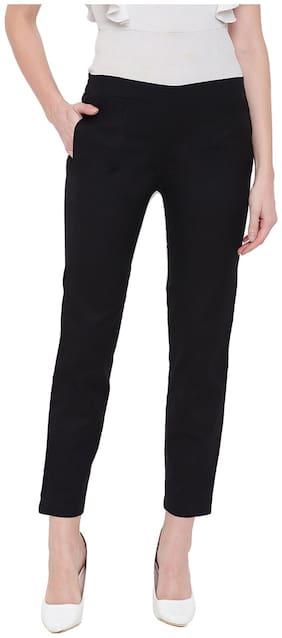 JAIPUR STREET Women Black Regular fit Regular pants
