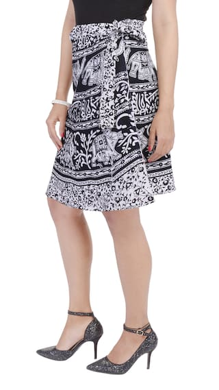 Skirt Around Wrap Printed Knee Length Jaipuri Cotton GUK2bR9R2